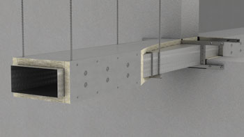 Fire protection of rectangular ventilation duct with PAROC stone wool products